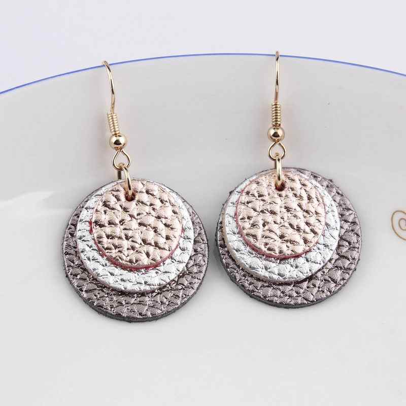 2019 Fall Winter Boho Fashion Jewelry 3 Layered Genuine Leather Earrings For Women Trendy Round Shape Small Earrings Wholesale
