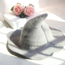 Modern Halloween Witch Hat Woolen Women Lady Made From Fashionable Sheep Wool Halloween Party hat Decor [available from 11 11]hat woolen hat canoe4706101