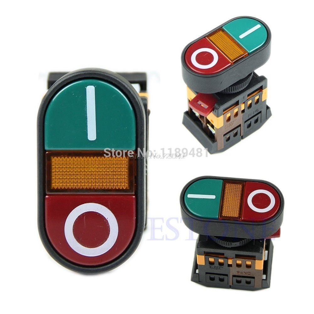 Red Green Light Indicator Momentary Switch Power Start Stop ON OFF Push Button