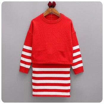 Autumn Pattern Korean Pieces Set Children's Garment Girl Baby Stripe Split Sweater Clothing Used For Travel Short Skirt Suit
