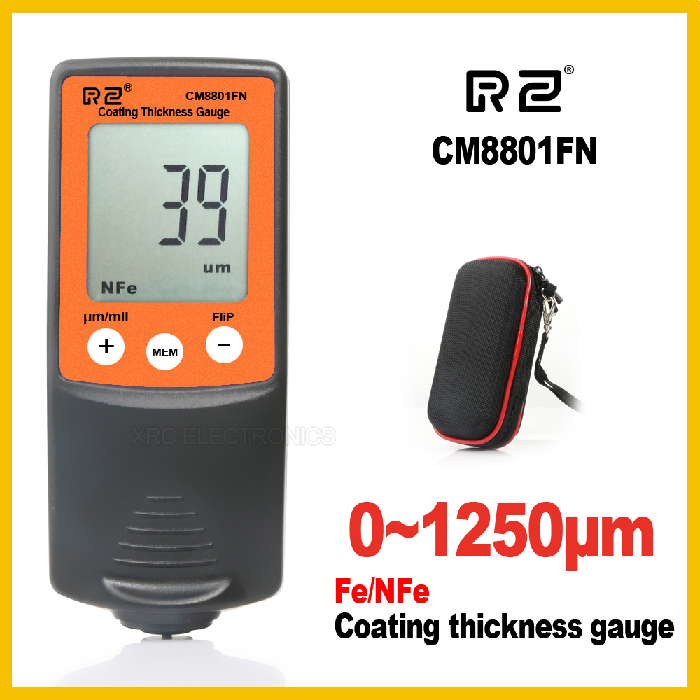 RZ Film Coating Car Automotive Thickness Gauge Gage Thinner Paint Paintwork Varnish Meter Tester CM8801FN FN 2 in 1 1250um