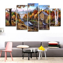 Modern Printed Paintings Posters HD 5 Panel Forest Animal Deer Landscape Home Decor Modular Tableau Wall Art Pictures Canvas(China)