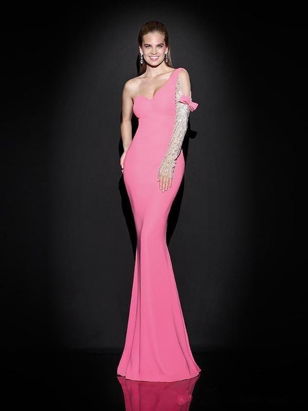 Junoesque фуксия русалка вечернее платье одно плечо декольте шифон полная с бисером кристалл с бантом длинное вечернее платье