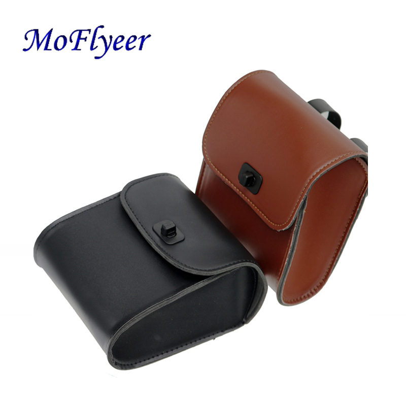 MoFlyeer Universal Motorcycle Handlebar Sissy Bar Saddlebag Side Bag PU Leather Tool Bag For Honda Kawasaki Yamaha