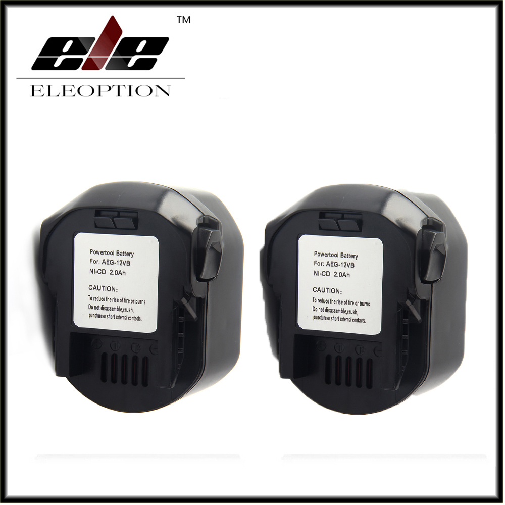 2x AEG 12VB Power Tool Battery 12V 2000mAh 2.0 Ah Ni-CD For B1214G,B1215R,B1220R,M1230R,BS12G,BS12X,BSB12G,BSB12STX,BSS12RW