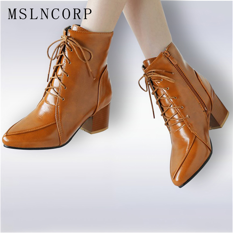 Plus Size 34-45 spring autumn Handmade Women Ankle Boots Comfortable Designer high heel lace-up martin boots thick heel Shoes xiangban women leather boots round toe handmade women ankle boots comfortable thick heel autumn shoes