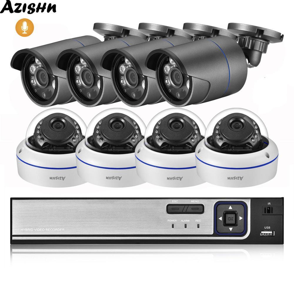 AZISHN 8CH 4MP POE NVR CCTV System 4MP H.265 Audio Record Outdoor CCTV Kamera IR Nacht Vision IP Sicherheit Video überwachung Kit