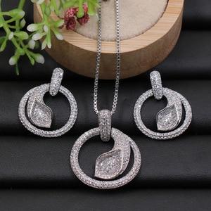 Image 3 - Набор ювелирных изделий Lanyika, геометрическое кольцо с пальмовым листом, ожерелье с фианитом и серьги для помолвки, лучший подарок