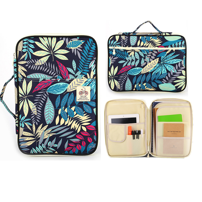 Multi-Functional A4 Bag Folders For Documents Ipad Filing Products Waterproof Nylon Storage Bag File Notebook Pens Computer