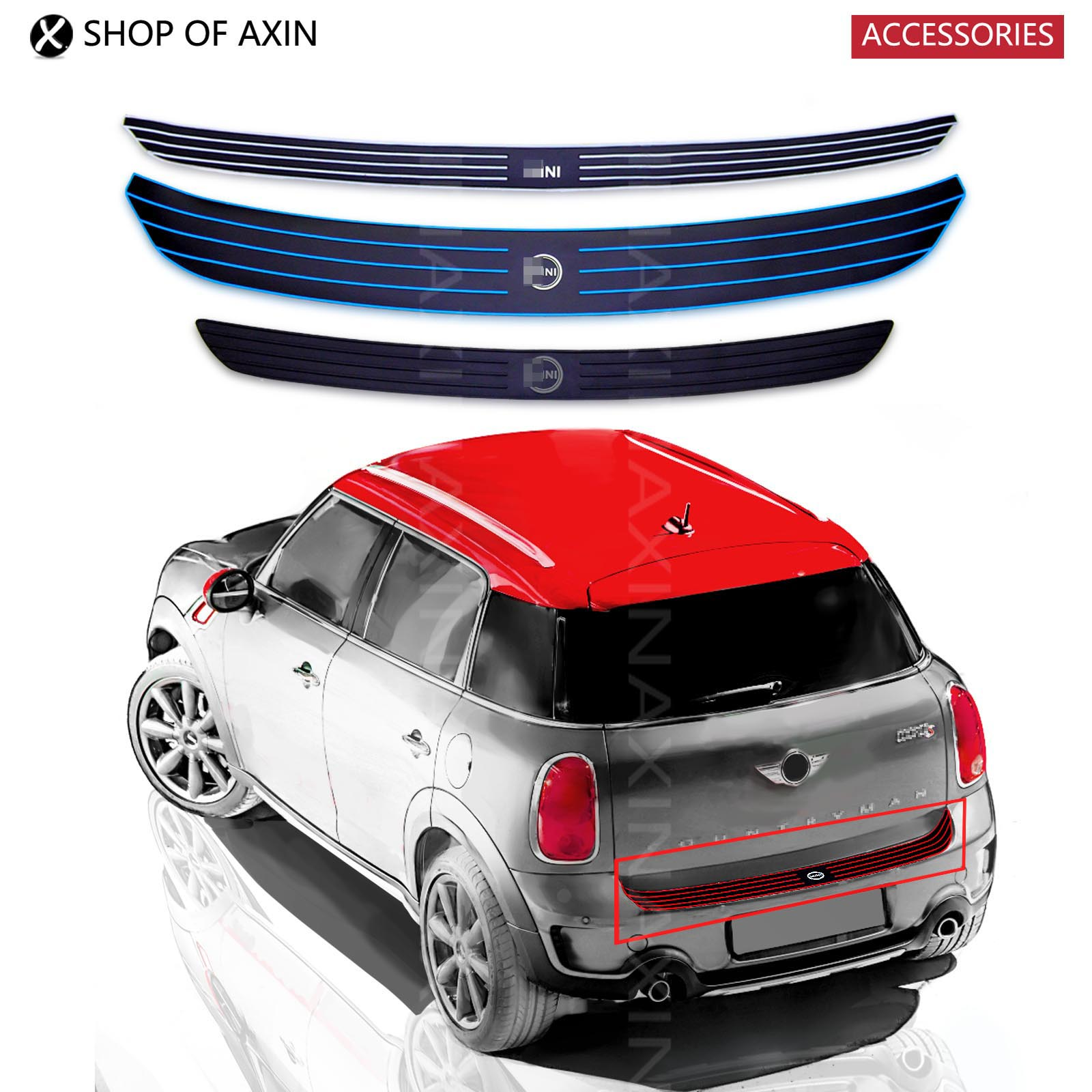 Car rear bumper Trunk load edge Protector guard Rubber Trim sticker for MINI cooper clubman countryman R55 R56 R57 R60 F55 F56 protective pvc car bumper guard protector sticker white 2 pcs
