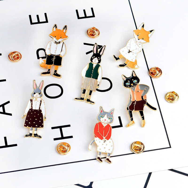 Qihe Jewelry alfileres y broches Conejo//ZORRO//GATO pareja Esmalte Pin insignias Sombrero