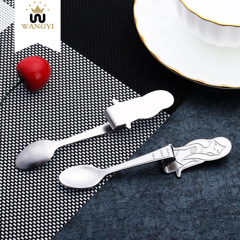 WANGYI Coffee Tea Spoon Colher Milk Honey Mixing Spoons Long Handled Stainless Steel Western Little Mermaid Teaspoon Cuchara