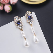 Trendy Crystal Women Dangle Earrings Retro Pearl Pendant Earrings Drop Earrings Jewelry Fashion Earrings For Women Statement(China)