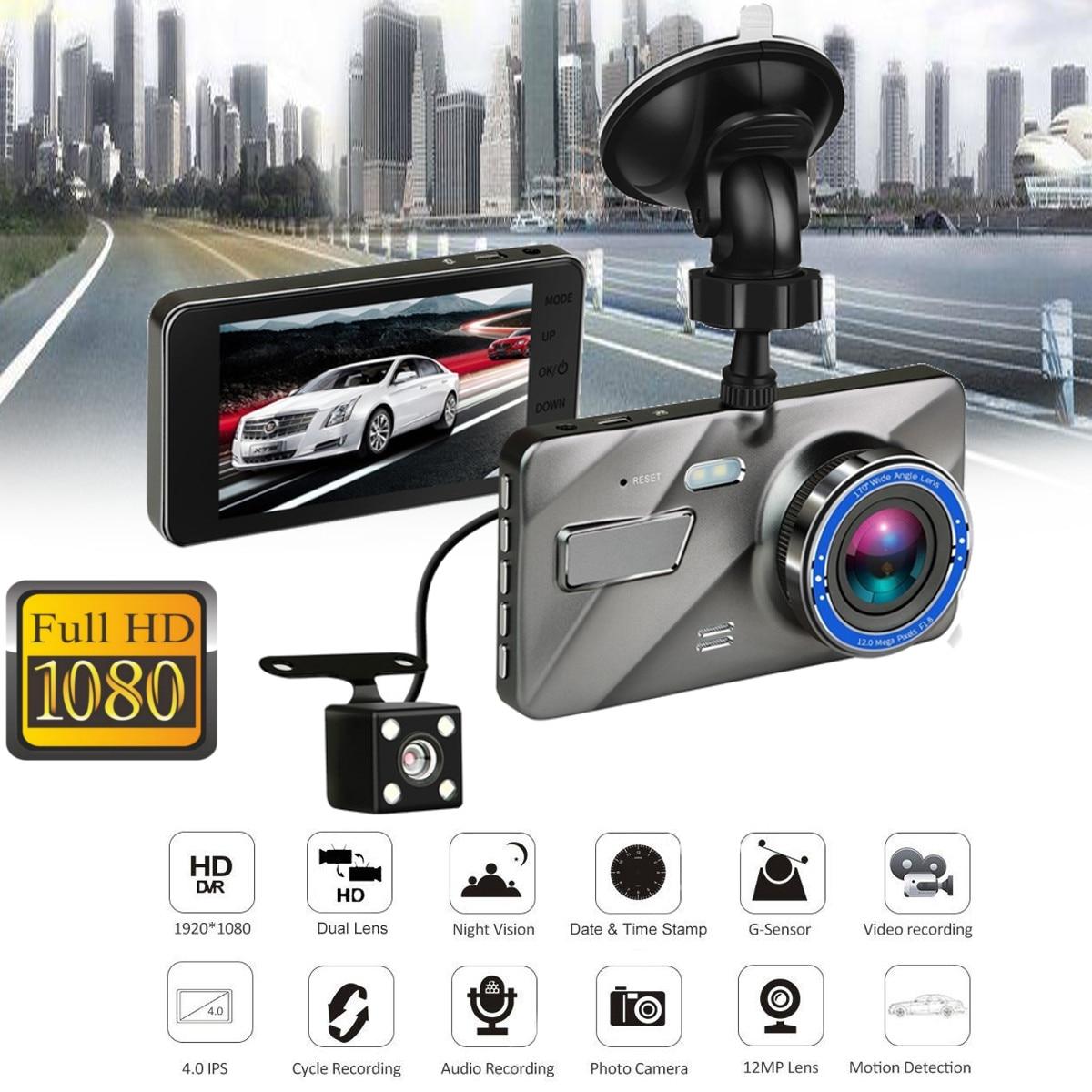 Видеорегистратор, новый видеорегистратор с двумя объективами, Full HD 1080 P, 4 ips, переднее + заднее синее зеркало, ночное видение, видео регистратор, парковочный монитор