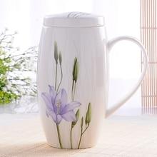 # A Kreative liebhaber tasse keramik große büro Tasse getreide abdeckung mit löffel kaffee kaffee tasse morphe