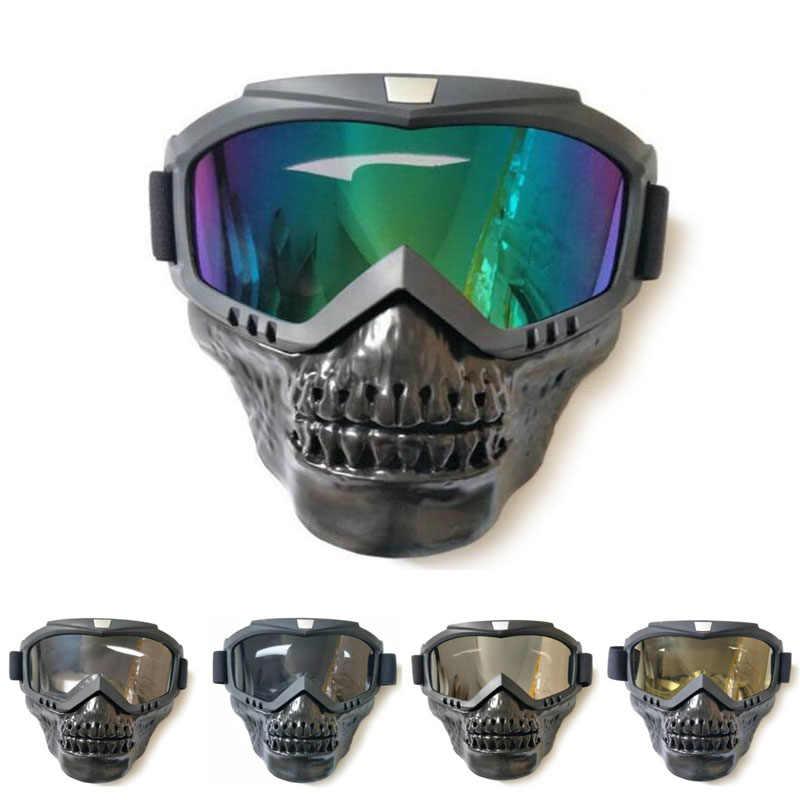 8300059b95 New Ski Bike Motorcycle Face Mask Goggles Motorbike Motor Open Face  Detachable Goggle Helmets Vintage Glasses