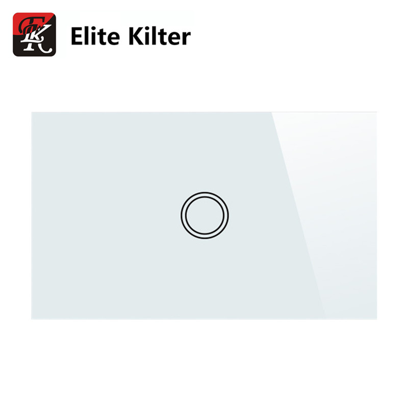 Elite Kilter Touch Switch Panel Smart Touch Wall Light Switch 1 Gang White Crystal Glass US Standard elite kilter touch switch 1 gang 1 way eu uk standard crystal glass switch panel smart touch wall light switch ac 170v 240v