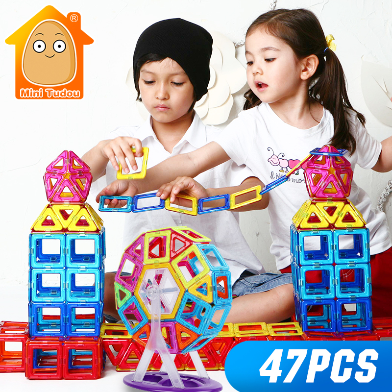 Minitudou 47PCS Mini Magnetic Designer Construction Toy Plastic Enlighten Bricks Enlighten Magnetic Building Block For Children susengo magnetic toy building enlighten block designer 358pcs magnet bars