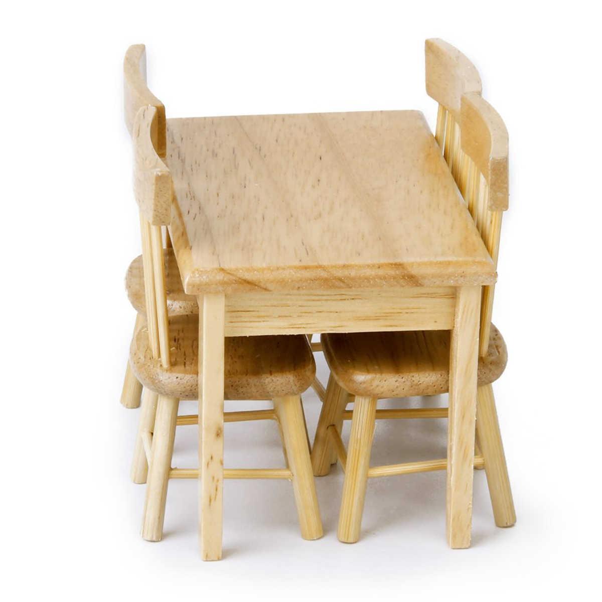 5 pçs/set 1/12 Dollhouse Miniature Cadeira Mesa de Jantar Conjunto de Móveis Para Crianças Brinquedos De Madeira