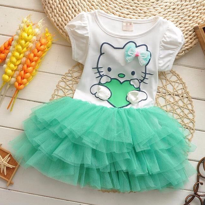 Hello kitty Summer Short sleeve Dress gauze cake princess dress Cotton Cute Baby Party Dress KT Cute kid clothes for 1-4Y girl