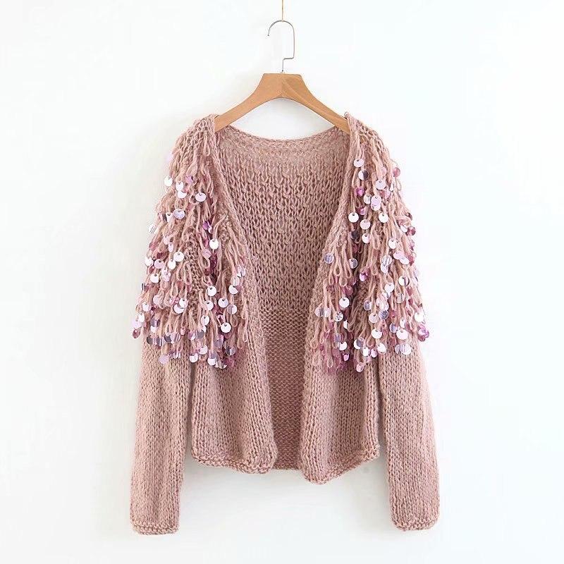 TEELYNN Boho women cardigan sweater 2018 winter sequins glitter long sleeve  mohair coat Casual knitted women sweaters outwear. 1 2 4 12 13 ... 1efda065d54c