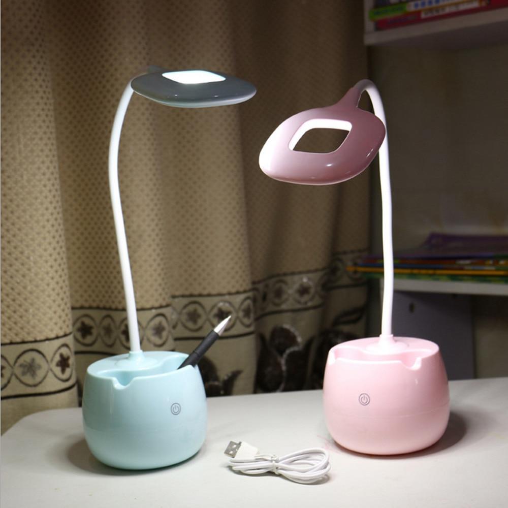 LED Lampe de Bureau avec Porte-Stylo Oeil-Soin Table Lampe Dimmable Lampe De Bureau Flexible Tactile Contrôle USB Rechargeable Table lampe