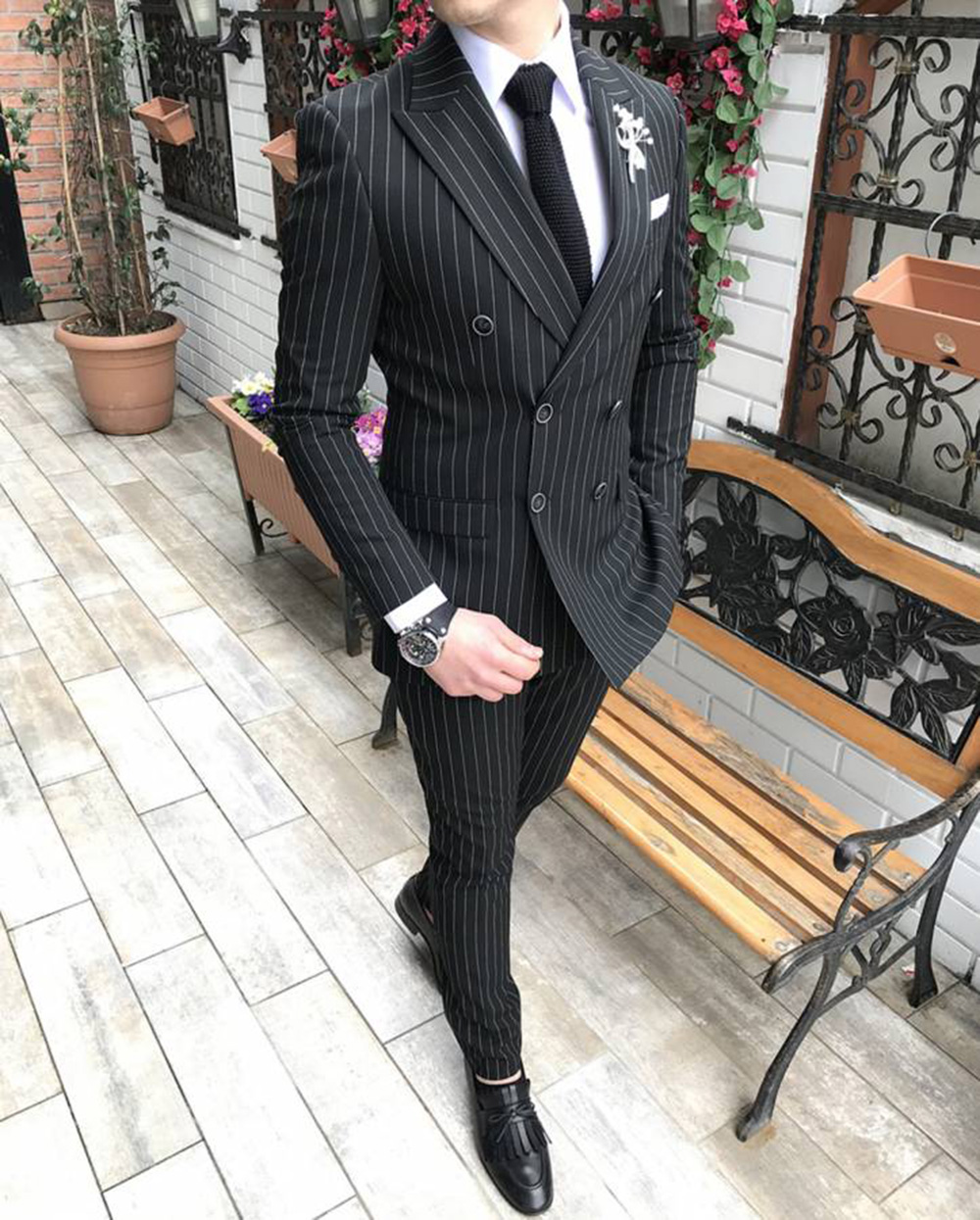 Mens Striped Blazer Suits 2 Piece Formal Slim Fit Double-Breasted Groomsmen Tuxedos For Weddding Suits For Men (Blazer+Pant)