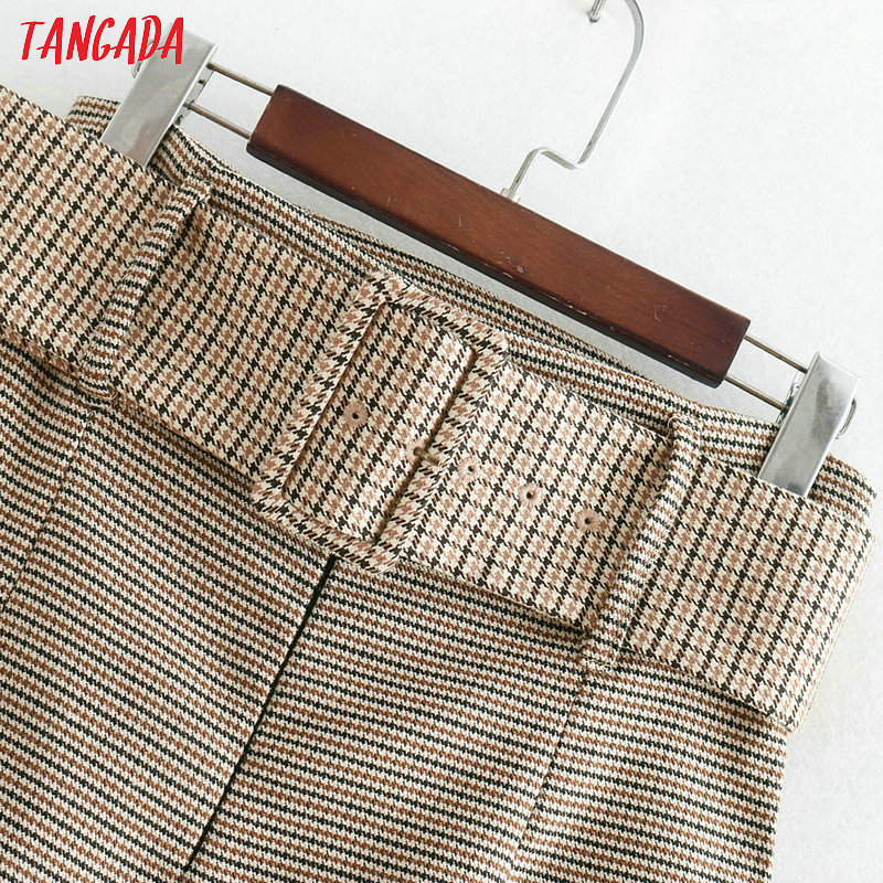 Tangada fashion women plaid skirt vintage work office ladies skirt with belt mujer retro mid calf skirts BE175 11