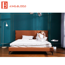 Italian king size  bedroom furniture modern leather upholstered bed