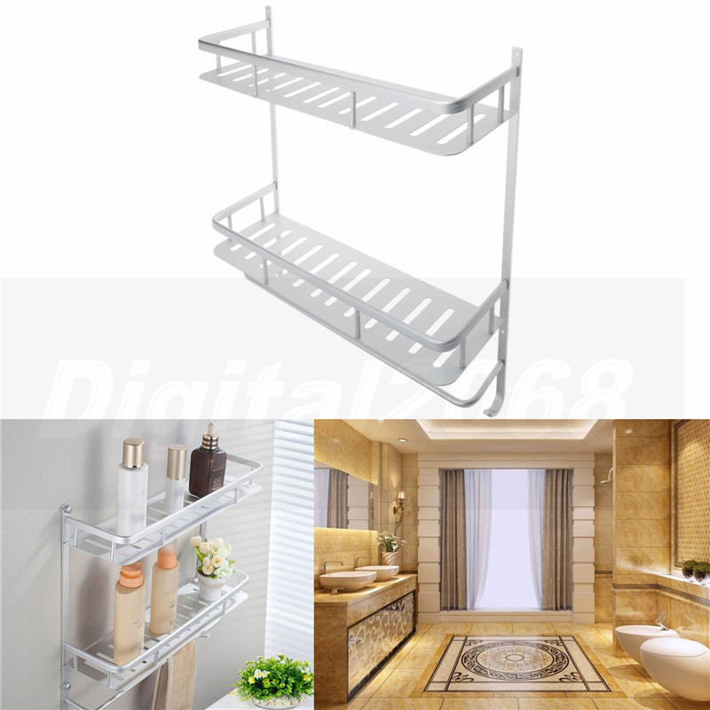 2016 hot sale silver aluminium shower storage holder rack for Bathroom decor sale