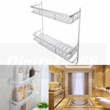 2016 Hot Sale Silver Aluminium Shower Storage Holder Rack Bathroom Accessories With Hooks 1305 40*44*12CM Free Shipping
