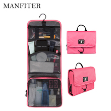 MANFITER New Travel Pouch Waterproof Portable Toiletry Bag Women Cosmetic Organizer Pouch Hanging Cute Wash Bags Makeup Bag