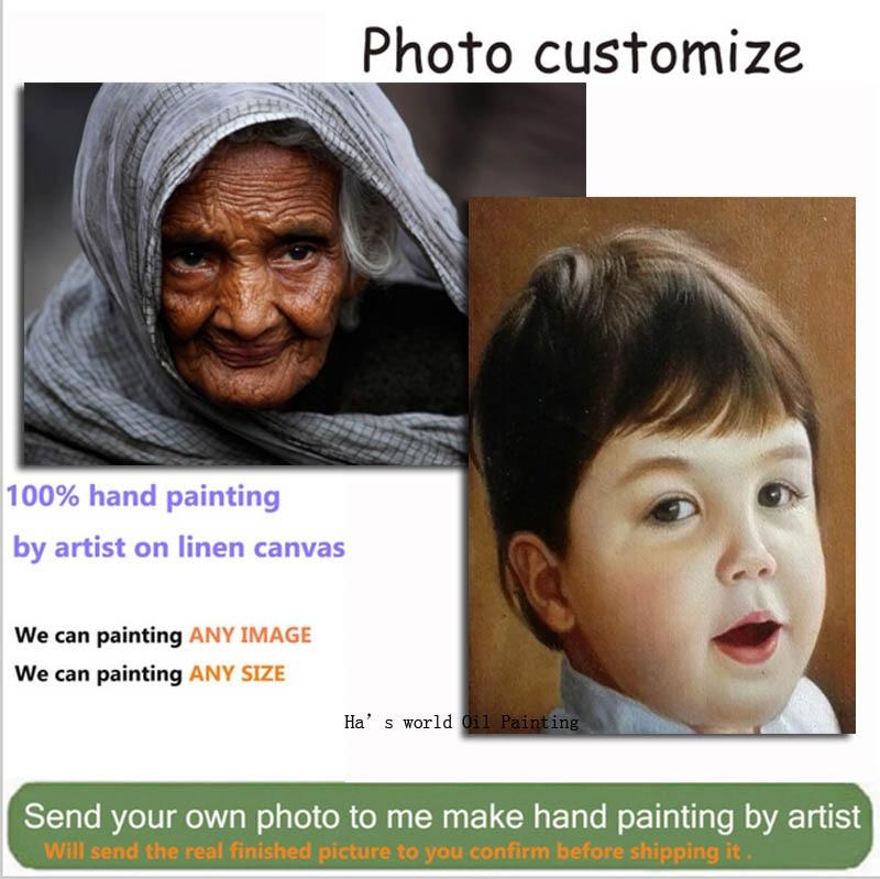 Peintures à l'huile peintes à la main sur toile peinture personnalisée personnaliser Portrait peinture à l'huile de Photo Wall Arts pour décor de salon-in Peinture et calligraphie from Maison & Animalerie    1