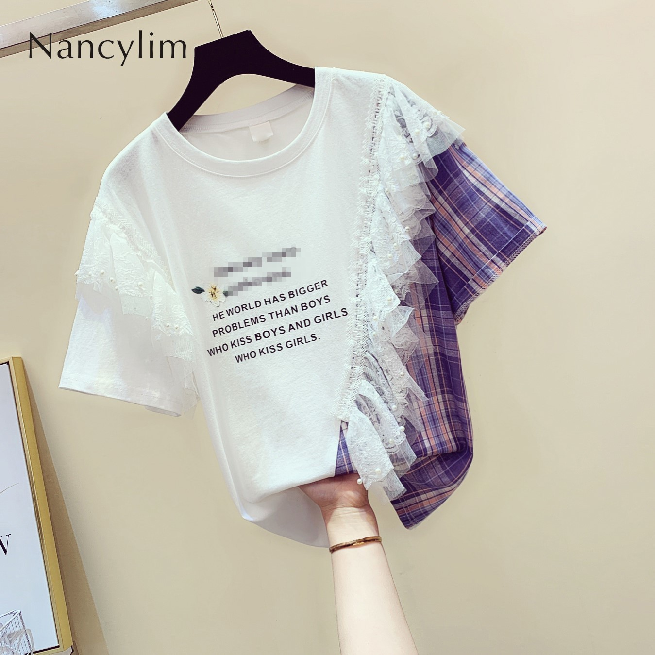 Summer Sweet Pull Shirt Tshirt Women Aesthetics Wind Irregular Lace Stitching Lotus Edge Sleeve Short Sleeve T-shirt Top Student