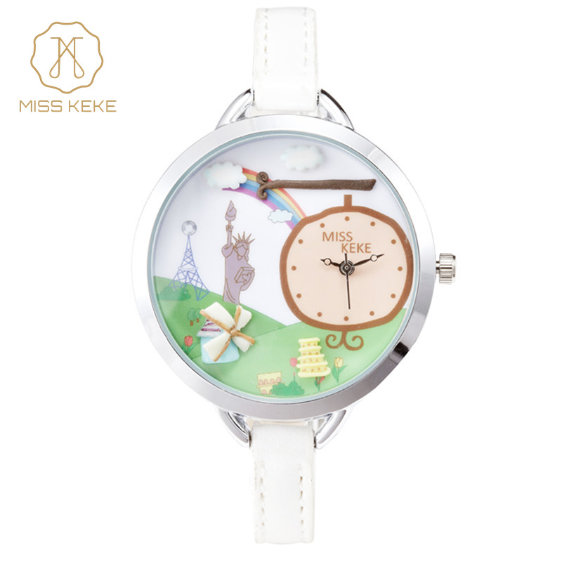 Miss Keke 2016 Cate Clay America Watches Women Ladies Casual Fashion Statue of Liberty Gift Quartz Watch Girl United State 871