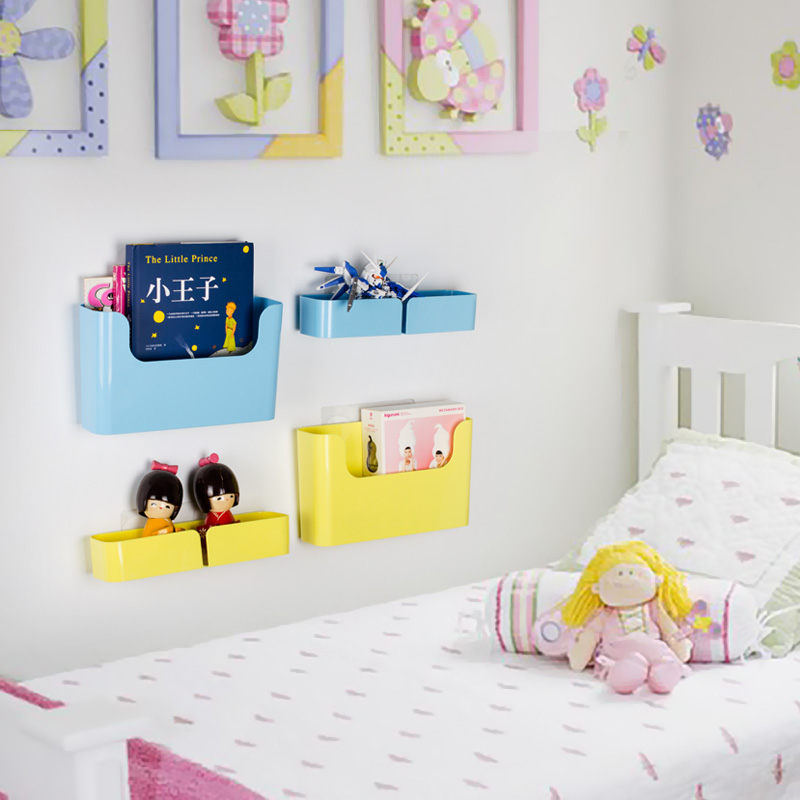 Self-adhesive Plastic storage box makeup organizer wall shelf Seamless Paste Hanging Storage Rack bathroom kitchen accessories