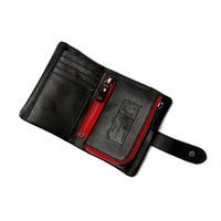 Vintage men genuine leather short wallet double zipper 2 fold cowhide rfid wallet black detachable passport holder
