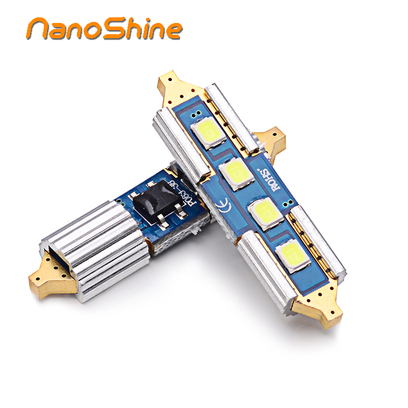 Nanoshine 2pcs all-metal SMD 2825 led c5w festoon car light source 31mm 36mm 39mm 41mm Interior auto reading doom lamp 12v white 2pcs 12v 31mm 36mm 39mm 41mm canbus led auto festoon light error free interior doom lamp car styling for volvo bmw audi benz