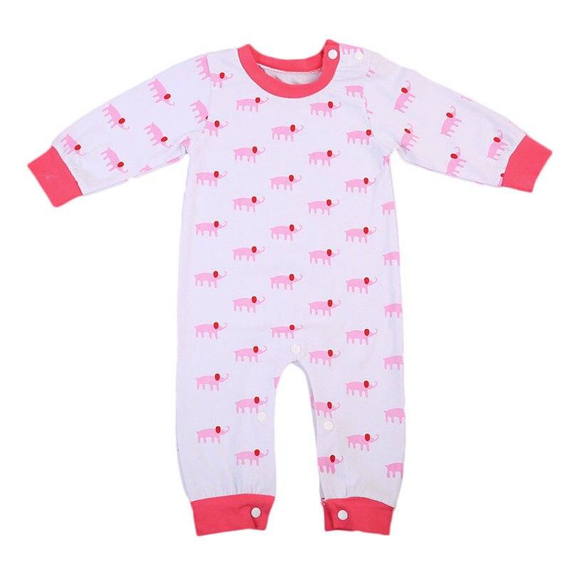 Frühling & Herbst Neugeborenen Baby Mädchen Nachtwäsche Pyjamas Pyjamas Overall Langarm Schönen Cartoon Gedruckt Kleidung Ein Unbestimmt Neues Erscheinungsbild GewäHrleisten