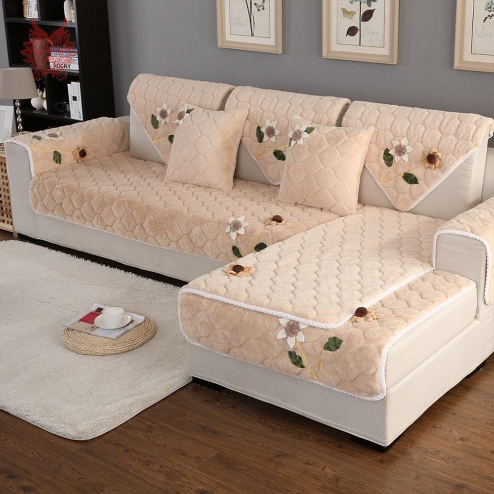 US $13.64 45% OFF|Korean floral applique beige blue sofa cover plush long  fur slipcover fundas de sofa sectional couch cover fundas de sofa SP4901-in  ...