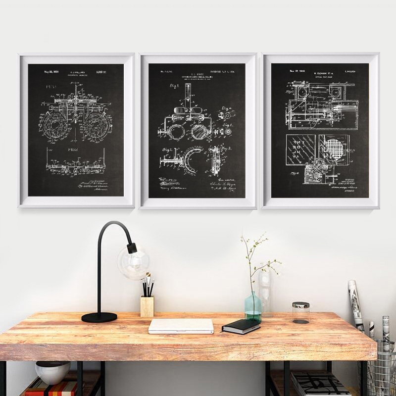 Optometry Patent Prints Optometrist Gifts Medicine Art Poster Optician Medical Tools Blueprints Art Canvas Painting Wall Decor