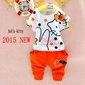 2015 nuevo 2-7años ropa para niños set hello kitty patrón niñas 1 sets 100% algodón ropa de verano niñas establece niños ropa