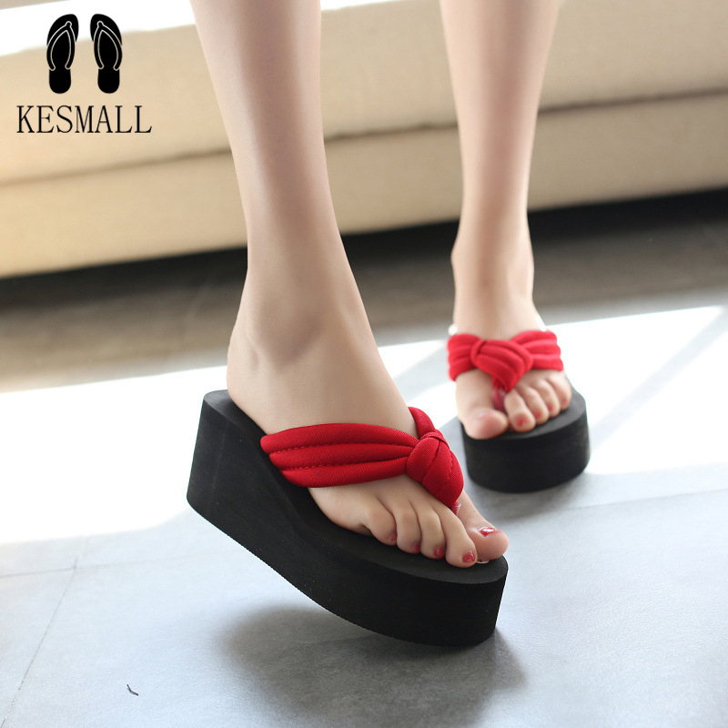 KESMALL Hot Sale Soild Wedge Platform Flip Flops Woman Shoes  Women Summer Shoes High Heels Beach Sandals Ladies Thick High WS84 купить