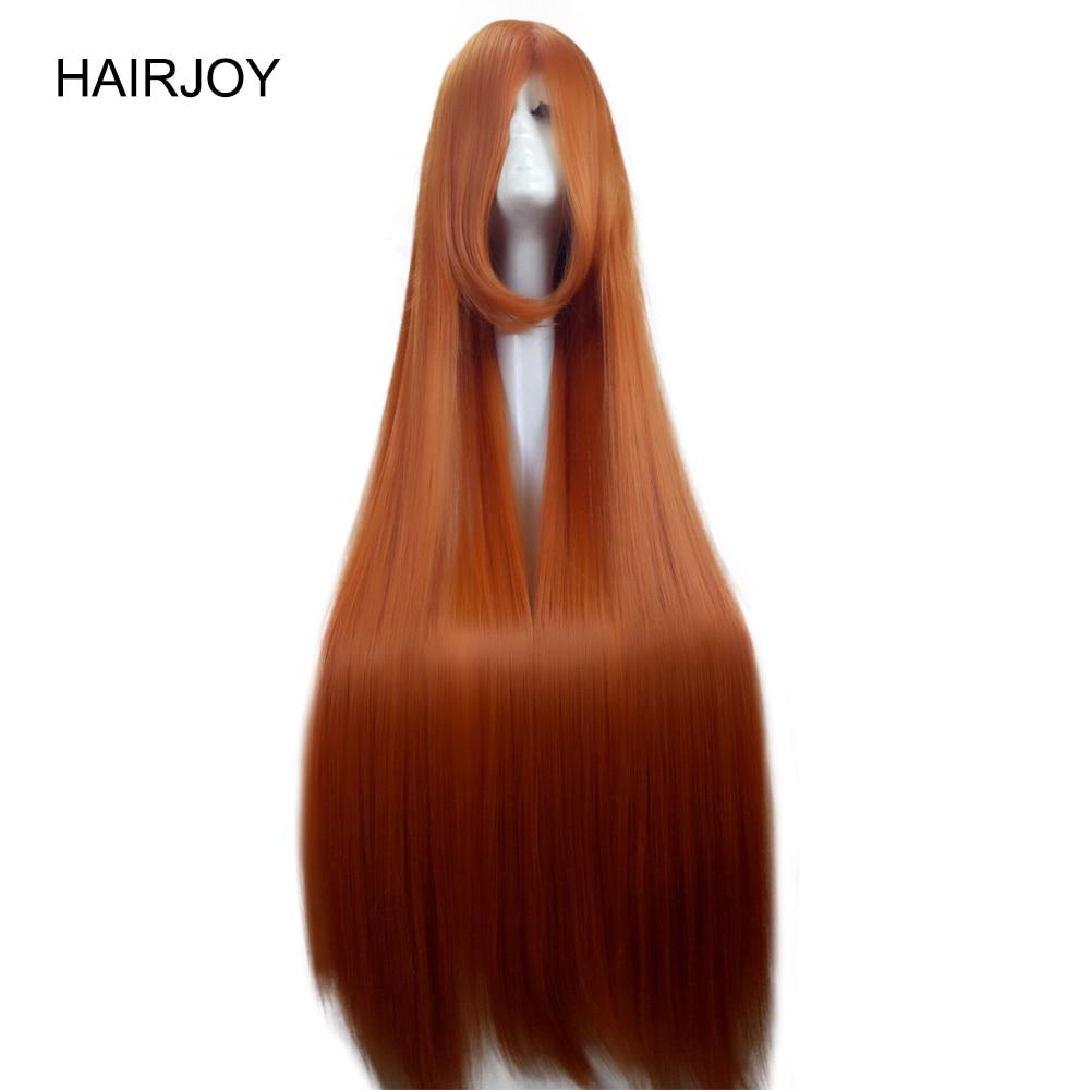 Hairjoy laranja verde roxo traje festa cosplay peruca longa reta perucas de cabelo sintético 15 cores disponíveis frete grátis