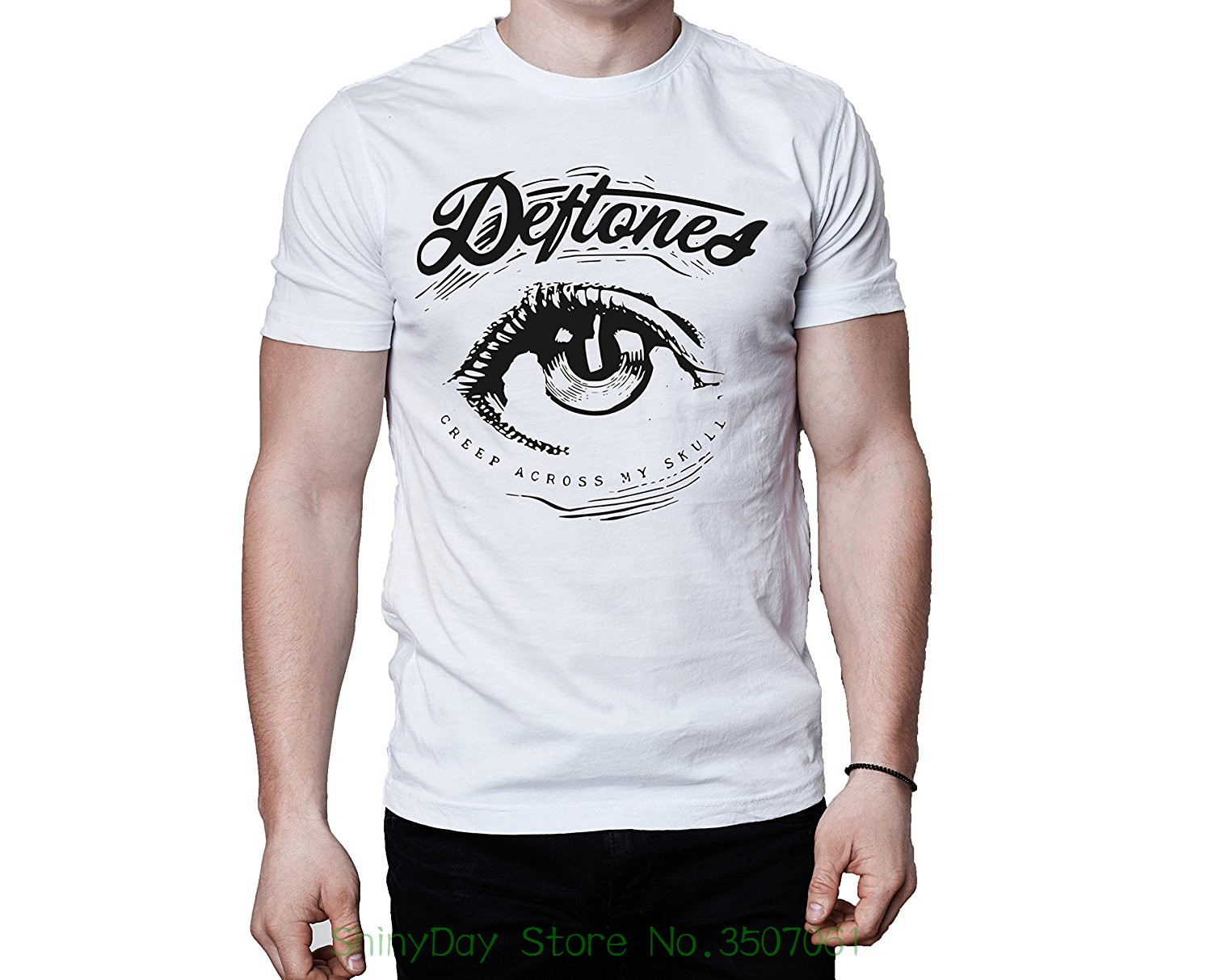81ea9f328 New Fashion For Men Short Sleeve Deftones Band Creep Across My Skull Eye  Logo White T-shirt