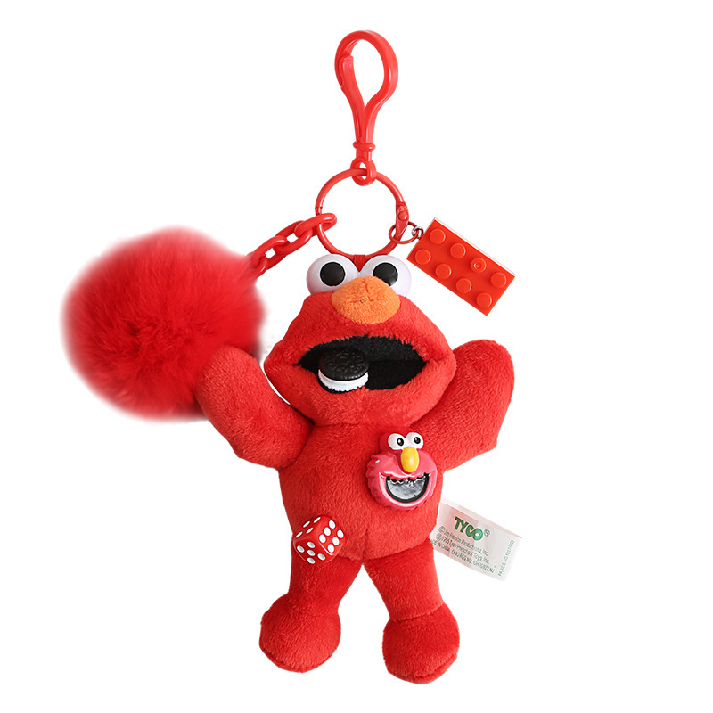 2019 Hot New new Hot sale Sesame Street Keychain plush Toy ELMO and COOKIE  MONSTER cute Gift Pendant plush Keychain toys gift
