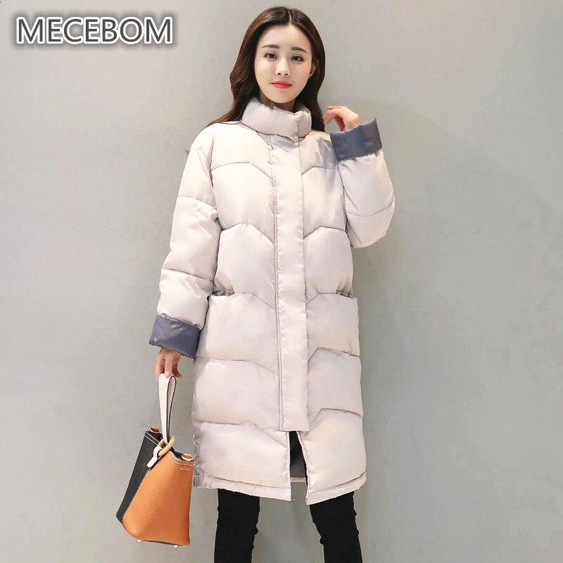 MECEBOM New arrival women winter parkas solid long cotton jacket for female Fashion Women Winter Outwear 866c