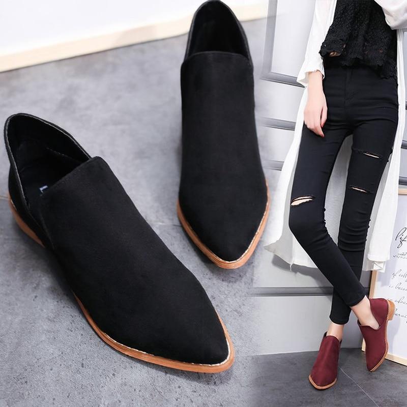 LZJ Kadın Tek Çizmeler Bayanlar Sivri Burun Çizmeler Büyük Boy Moda Giyim Patik Sonbahar ve Kış Ayakkabı 2019 Yeni artı boyutu 35-41