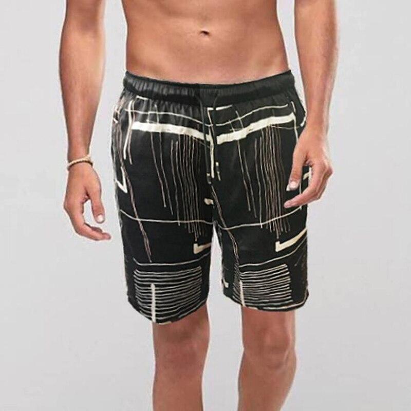 100 de seda do homem calça Marca 100% shorts de seda dos homens Quentes de Verão Homens Praia de Tabuleiro de Impressão Preto Shorts Pant Dos Homens Respiráveis homme Calções - 4