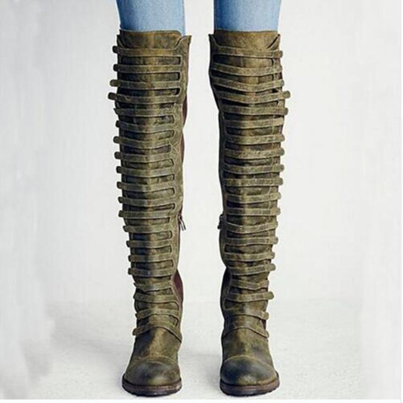 Botas femininas western talon moyen cuisse haute au-dessus du genou bottes velours armée combat bottes en cuir bas chaussures femme 2018